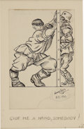 Paintings, ARTHUR SZYK (American 1894 - 1951). Give Me a Hand, Somebody, 1941. Ink on paper. 8 x 5 in.. Signed lower right. ...
