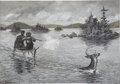Paintings, ARTHUR BURDETT FROST (American 1851 - 1928). Watering the Deer, 1883. Gouache on paper. 12 x 16 in.. Signed and dated lo...