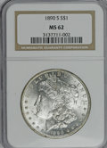 Morgan Dollars: , 1890-S $1 MS62 NGC. NGC Census: (990/4215). PCGS Population (1174/5655). Mintage: 8,230,373. Numismedia Wsl. Price for NGC/...