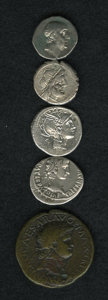 Ancients:Ancient Lots  , Ancients: Lot of five miscellaneous ancient coins.... (Total: 5coins)