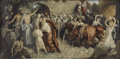 Mainstream Illustration, EDMUND F. WARD (American 1892 - 1991). Jesus at theMarketplace, 1926. Oil on canvas. 20 x 40 in.. Signed Lowerright. ...