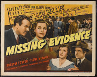 "Missing Evidence (Universal, 1939). Half Sheet (22"" X 28""). Crime. Starring Preston Foster, Irene Hervey, Inez..."