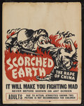 "Movie Posters:Documentary, Scorched Earth (Lamont Pictures, 1942). Jumbo Window Card (22"" X 28""). Documentary. Starring Cliff Howell. Directed by Ben M..."