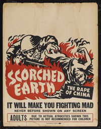 "Scorched Earth (Lamont Pictures, 1942). Jumbo Window Card (22"" X 28""). Documentary. Starring Cliff Howell. Dir..."