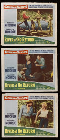 "Movie Posters:Adventure, River of No Return (20th Century Fox, 1954). Lobby Cards (3) (11"" X14""). Western. Starring Robert Mitchum, Marilyn Monroe, ... (Total:3 Items)"