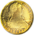 Colombia: , Colombia: Carlos III gold 8 Escudos 1787P-SF, KM50.2a, VF35 NGC,light toning in the legends, the 8 in the date is repunched to thesi...