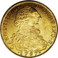 Colombia: , Colombia: Carlos III gold 8 Escudos 1787NR-JJ, KM50.1a, lustrousAU, few tiny obverse marks, unusually choice for this reign with noa...