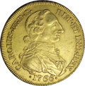 Colombia: , Colombia: Carlos III gold 8 Escudos 1766NR-JV, KM41, sharply struckXF, lightly toned surfaces with underlying sheen, early tall andt...