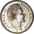 German States:Bavaria, German States: Ludwig II 2 Mark 1876D, KM505, choice lightly tonedUNC, an appealing coin with the perfect blend of silvery graypatina and...