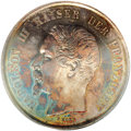 German States:Mainz, German States: Mainz. Napoleon III of France Essai 2 Taler ND(1861), VG-3588, Proof 65 NGC, a magnificent coin with blue, greenand russet...