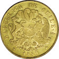 Chile: , Chile: Republic gold 8 Escudos 1850-LA, KM105, lustrous AU, veryattractive with exceptionally strong design details....