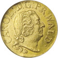 German States:Waldeck-Pyrmont, German States: Waldeck. Karl August Friedrich gold 1/4 Ducat 1741,Bust right/Arms, KM-C30, F-3496, MS62 NGC. Lightly abraded andlustrous....