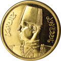Egypt: , Egypt: Farouk gold 500 Piastres 1938, KM373, gem Proof, anexceptionally attractive example of this popular gold type struckfor th...