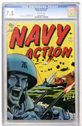 Golden Age (1938-1955):War, Navy Action #1 (Atlas, 1954) CGC VF- 7.5 Off-white pages....