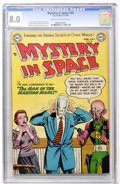 Golden Age (1938-1955):Science Fiction, Mystery in Space #20 (DC, 1954) CGC VF 8.0 Cream to off-whitepages....