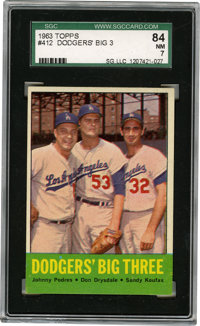 1963 Topps Dodgers' Big Three Podres/Drysdale/Koufax #412 SGC NM 84. In the years after Dem Bums relocated to the West C...