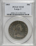 Early Half Dollars: , 1803 50C Large 3 VF35 PCGS. PCGS Population (38/103). NGC Census:(30/150). Mintage: 188,234. Numismedia Wsl. Price for NGC...