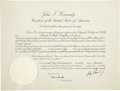 Autographs:U.S. Presidents, John F. Kennedy Document Signed...