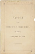 Books:First Editions, [Charles Dickens]. Report of the Dinner Given to Charles Dickens, In Boston, February 1, 1842. Reported by Thomas Gi...