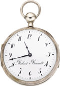 Timepieces:Pocket (pre 1900) , Robert Brandt, Silver Quarter Hour Repeater with Music and Rare Virgule Escapement, circa 1790. ...