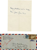 Autographs:Authors, Ernest Hemingway Autograph Note Signed ... (Total: 2 Items)