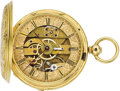 Timepieces:Pocket (pre 1900) , Swiss Gold Unusual Reverse Plate Fancy Key Wind, circa 1860. ...