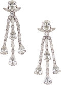 Estate Jewelry:Earrings, Diamond, Platinum Earrings. ... (Total: 2 Items)