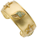Estate Jewelry:Bracelets, Diamond, Blue Zircon, Gold Cuff. ...