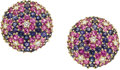 Estate Jewelry:Earrings, Pink & Blue Sapphire, Diamond, Gold Earrings. ... (Total: 2Items)