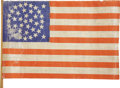 "Political:Textile Display (1896-present), Small Printed ""Global"" Pattern 38 Star Parade Flag..."