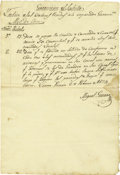 Military & Patriotic:Indian Wars, Saltillo - Military Document Signed by Miguel Guerra. ...