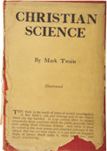 Books:First Editions, Mark Twain. Christian Science. With Notes ContainingCorrections to Date. Illustrated. New York and London: Harp...