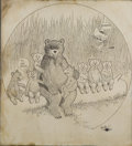 Mainstream Illustration, JOHN CLUBB SCOTT (American 1875 - 1934). Teddy Bear, We AreSeven, 1907. Ink on paper. 17 x 15.5 in.. Signed lower right...