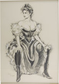 Pin-up and Glamour Art, OLIVIA (Olivia De Berardinis) (American b.1948). CostumeStudy, 1984. Charcoal on paper. 28 x 20 in.. Signed lowerleft...