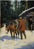 Mainstream Illustration, HOWARD L. HASTINGS (American 20th Century). Mountie. Oil onboard. ...