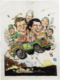 Mainstream Illustration, RICK MEYEROWITZ (20th Century). M*A*S*H, TV Guide cover,1974. Ink and watercolor on paper. 20 x 15 in.. Signed lower ri...