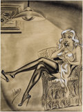 Pin-up and Glamour Art, BILL WARD (American 1919 - 1998). Original men's magazineillustration. Mixed-media on paper. 20 x 14 in.. Signed lower...