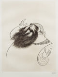 Mainstream Illustration, ALBERT HIRSCHFELD (American 1903 - 2003). Zero Mostel.Etching. 22 x 17 in.. Signed lower right. ...