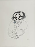 Mainstream Illustration, ALBERT HIRSCHFELD (American 1903 - 2003). Woody Allen, SilverEdition. Lithograph print. 21 x 16 in.. Signed lower right...