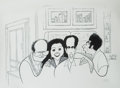 Mainstream Illustration, ALBERT HIRSCHFELD (American 1903 - 2003). Seinfeld Finale.Lithograph. 18.5 x 23 in.. Signed lower right. ...