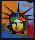 Mainstream Illustration, PETER MAX (American, b.1937).. Liberty Head. Mixed-media. 9x 8 in.. Signed at the upper right. ...