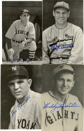 Autographs:Post Cards, Vintage Baseball Stars Signed Postcards Lot of 4. Exquisite quartetof vintage postcard images has each been signed by one ...