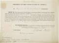 Autographs:U.S. Presidents, Franklin Pierce Partly Printed Document Signed as President withLarge Steel Engraving. ... (Total: 2 Items)