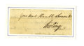 "Autographs:Military Figures, General William Alexander ""Lord Stirling"" Clipped Signature. Small4.5 x 1.75"" slip, clipped from a letter, n.p., n.d. Reads..."