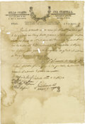 Autographs:Military Figures, José Antonio del Bosque y Vargas and Miguel Esparza Autograph Document Signed. ...