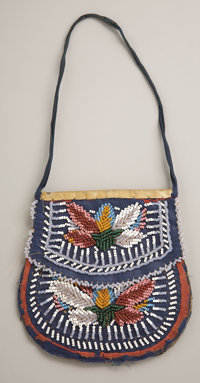 AN IROQUOIS BEADED CLOTH POUCH c. 1900