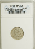 Bust Dimes: , 1821 10C Small Date--Corroded, Damaged--ANACS. XF40 Details.Mintage: 1,186,512. Numismedia Wsl. Price for NGC/PCGS coin in...