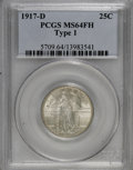 Standing Liberty Quarters: , 1917-D 25C Type One MS64 Full Head PCGS. PCGS Population (378/351). NGC Census: (264/268). Mintage: 1,509,200. Numismedia W...