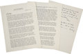 Autographs:U.S. Presidents, Dwight D. Eisenhower Typed Letter Signed to Mamie Signed Twice,...