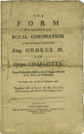 Books:Pamphlets & Tracts, [King George III]. The Form of the Proceeding to the RoyalCoronation of Their Most Excellent Majesties King George III...